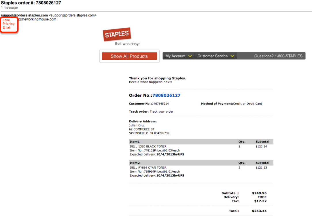 Warning: Fake Order Confirmation Phishing Email from